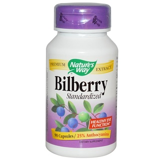 Nature's Way, Bilberry, Standardized, 90 Capsules