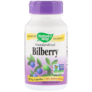 Nature's Way, Bilberry, Standardized, 90 Veg Capsules
