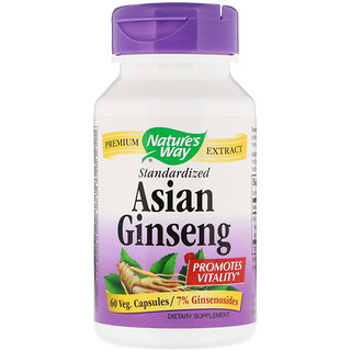 Nature's Way, Asian Ginseng, Standardized, 60 Veggie Caps