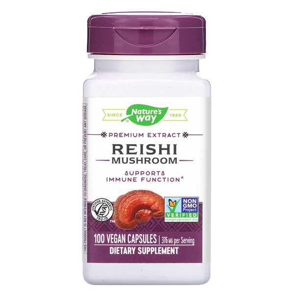 Nature's Way, Reishi Mushroom, 376 mg, 100 Vegan Capsules