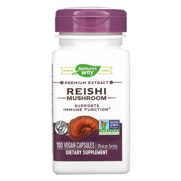 Nature's Way, Hongo reishi, 376 mg, 100 cápsulas veganas