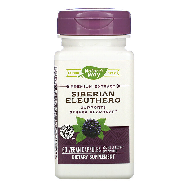 Nature's Way, Premium Extract, Siberian Eleuthero, 250 mg, 60 Vegan Capsules