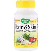 Hair & Skin, С глюкозамином и метил сульфонил метаном, 100 капсул - фото