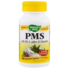 Nature's Way, PMS, содержит B6 и другие витамины группы B, 100 вегетарианских капсул