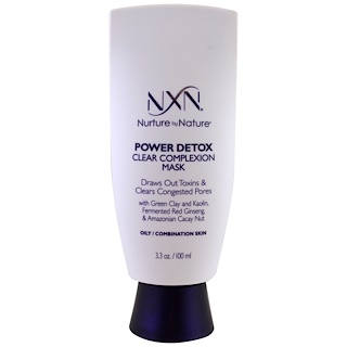 NXN, Nurture by Nature, Power Detox, Clear Complexion Mask, Oily / Combination Skin, 3.3 oz (100 ml)