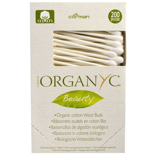 Beauty, Organic Cotton Wool Buds, 200 Pieces