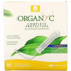 Organyc, 有機衛生棉條,緊湊型,常規吸收性,16 片