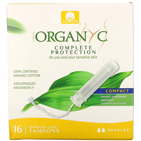 Organic Tampons, Compact, Regular Absorbency, 16 Tampons