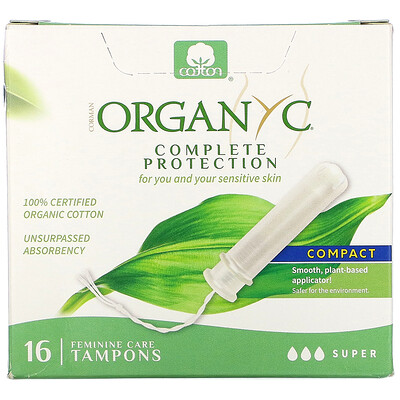 Купить Organyc Organic Tampons, Compact, Super, 16 Tampons