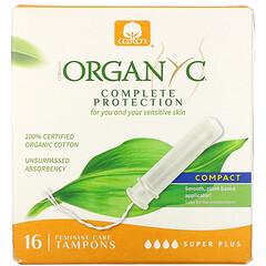 Organyc, 有機衛生棉條,緊湊型,加大特多量,16 片