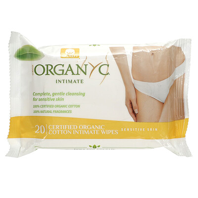 Organyc Intimate, Cotton Wipes, 20 Wipes