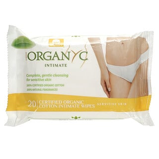 Organyc, Intimate, Cotton Wipes, 20 Wipes