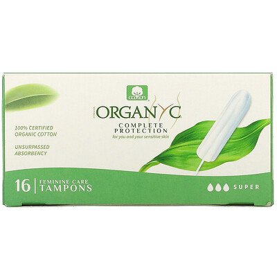 Organyc Organic Tampons, Super, 16 Tampons  - купить со скидкой
