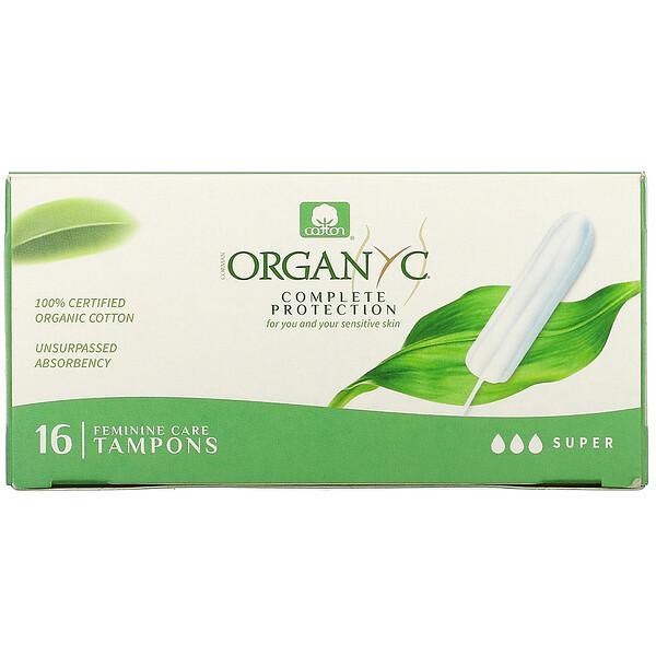 Organic Tampons, Super, 16 Tampons