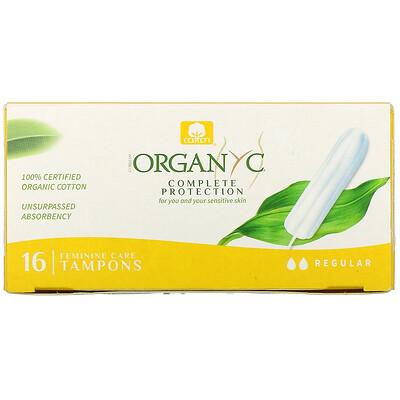 Купить Organyc Organic Tampons, Regular, 16 Tampons