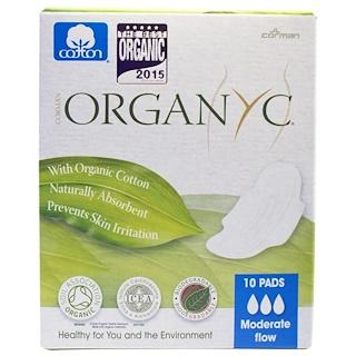 Organyc, فوط صحية للعادة الشهرية، تدفق متوسط، 10 فوط