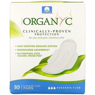 Organyc, Organic Cotton Pads, Moderate Flow, 10 Pads