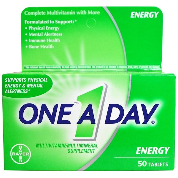 One-A-Day, Энергетик, мультивитаминный/мультиминеральный комплекс, 50 таблеток (Discontinued Item)