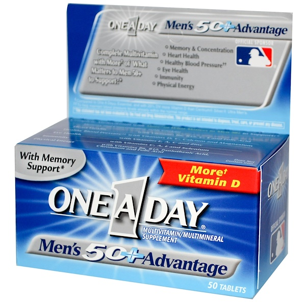 One-A-Day, Men's 50+ Advantage, Multivitamin/Multimineral Supplement, 50 Tablets (Discontinued Item)