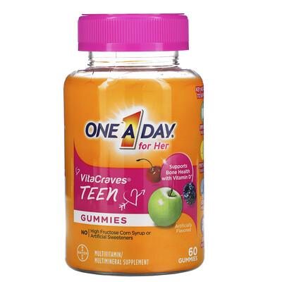 Купить One-A-Day ВитаЖажда, ежедневный мультивитаминный комплекс из серии Раз в день для девочек-тинэйджеров, 60 жевательных пастилок