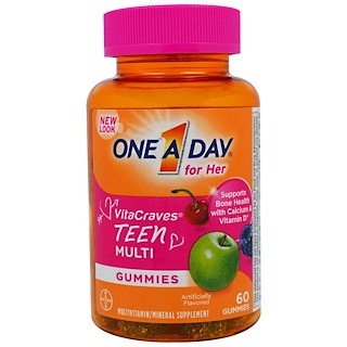 One-A-Day, One A Day for Her, VitaCraves, Teen Multi, 60 Gummies