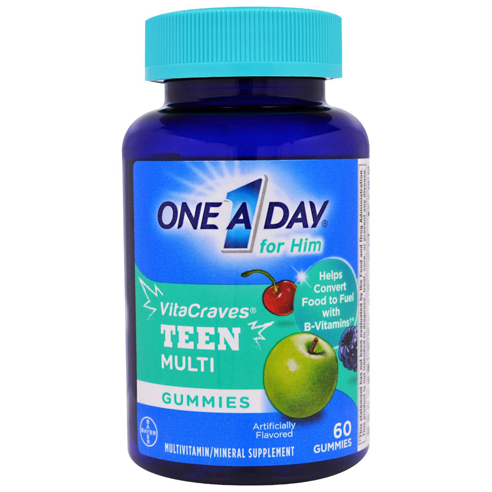 """One-A-Day, """"ВитаЖажда"""", ежедневный мультивитаминный комплекс из серии """"Раз в день"""" для мальчиков-тинэйджеров, 60 жевательных пастилок"""