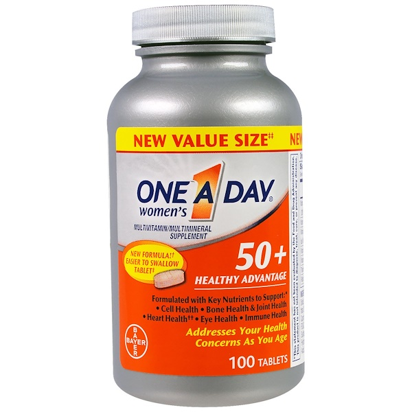 One-A-Day, Women's 50+, Healthy Advantage, Multivitamin/Multimineral Supplement, 100 Tablets