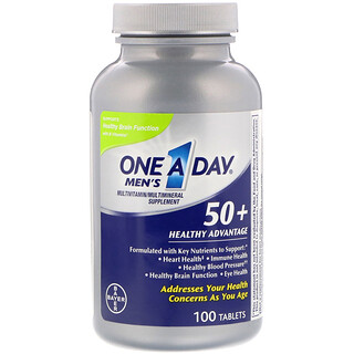 One-A-Day, Men's 50+, Healthy Advantage, Multivitamin/Multimineral Supplement, 100 Tablets