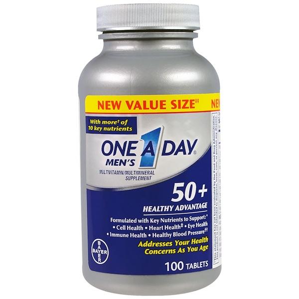 One-A-Day, للرجال فوق الخمسين، مزايا صحية، مكمل غذائي متعدد المعادن ومتعدد الفيتامينات، 100 قرص