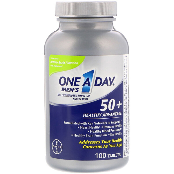One-A-Day, Men's 50+, Healthy Advantage, Suplemento Multivitamínico/Multimineral, 100 Comprimidos