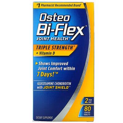 Купить Osteo Bi-Flex Здоровье суставов, тройная сила + витамин D, 80 таблеток в оболочке