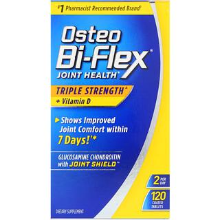 Osteo Bi-Flex, Saúde das Articulações, Tripla Potência + Vitamina D, 120 Comprimidos Revestidos