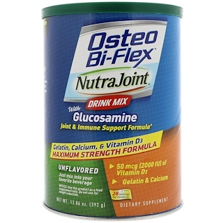 Osteo Bi-Flex, NutraJoint Drink Mix, with Glucosamine, Unflavored, 13.86 oz (392 g)