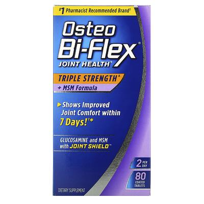 Купить Osteo Bi-Flex Здоровье суставов, тройная сила + формула MSM, 80 таблеток в оболочке
