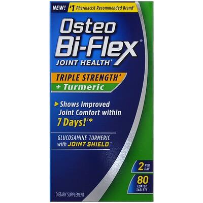 Купить Osteo Bi-Flex Здоровье суставов, тройная сила + куркума, 80 таблеток с покрытием