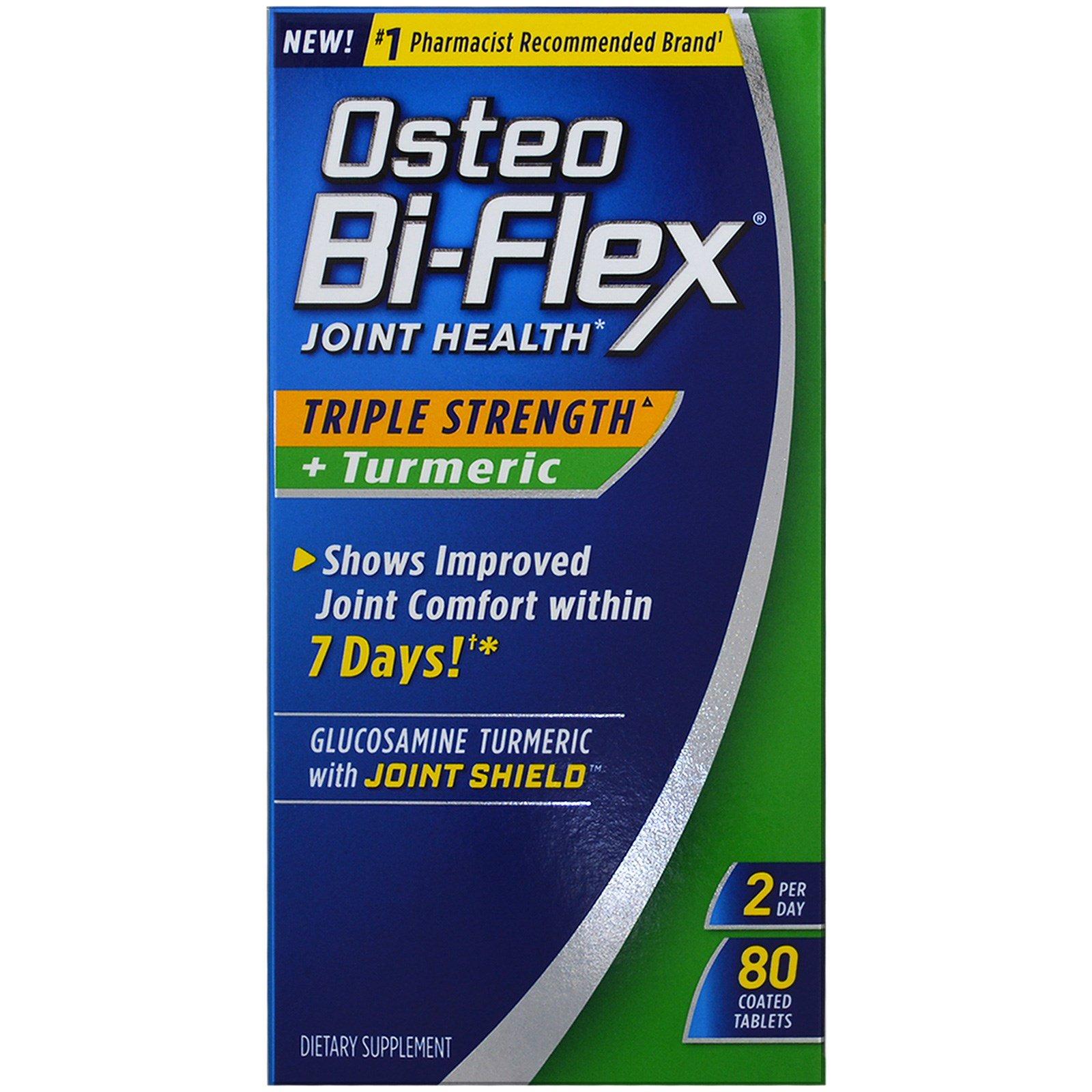 Osteo Bi-Flex, Здоровье суставов, тройная сила + куркума , 80 таблеток с покрытием