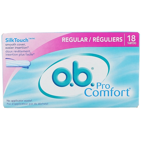 o、b、, Pro Comfort 棉條,常規流量,18 條