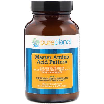 Pure Planet Master Amino Acid Pattern, смесь главных аминокислот, 1000мг, 100таблеток