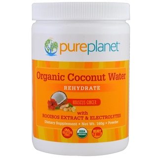 Pure Planet, Organic Coconut Water, Rehydrate, Hibiscus Ginger, 160 g