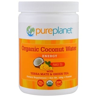 Pure Planet, Organic Coconut Water, Energy, Mango Tea, 160 g