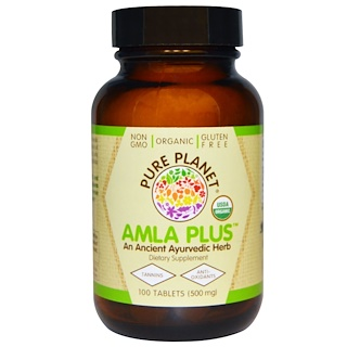 Pure Planet, Amla Plus Orgânica, 500 mg, 100 Comprimidos