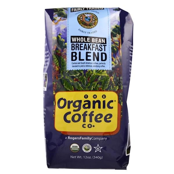 Organic Coffee Co., ブレックファーストブレンド、 ホールビーン、 12オンス (340 g)