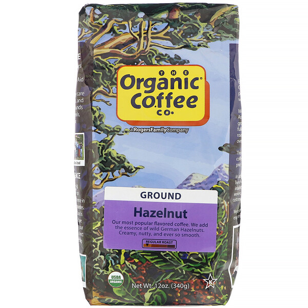 Organic Coffee Co., Noisette, Moulu, 340 g
