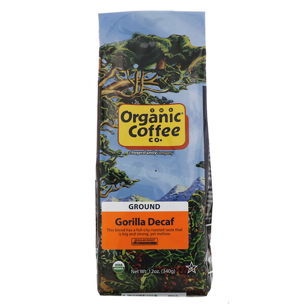 Organic Coffee Co., Gorilla Decaf, Moulu, 340 g