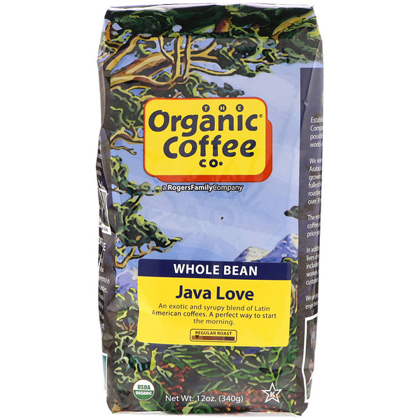 Organic Coffee Co., Java Love, Whole Bean Coffee, Regular Roast, 12 oz (340 g)