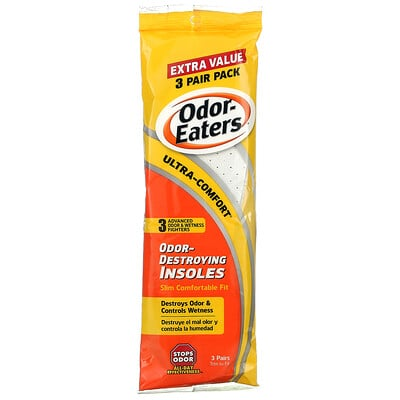 Odor Eaters Odor-Destroying Insoles, Slim Comfortable Fit, 3 Pairs