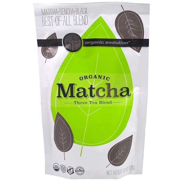 Organic Evolution, Органический зеленый чай маття, смесь трех чаев, 4,23 унции (120 г) (Discontinued Item)