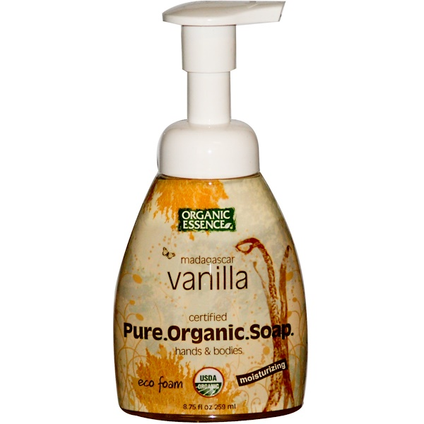Organic Essence, Pure Organic Soap, Hands & Bodies, Eco Foam, Madagascar Vanilla, 8.75 fl oz (259 ml) (Discontinued Item)