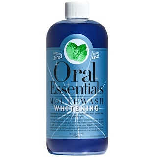 Oral Essentials, Mouthwash, Whitening with Zinc, Lemon Zest, 16 fl oz (473 ml)