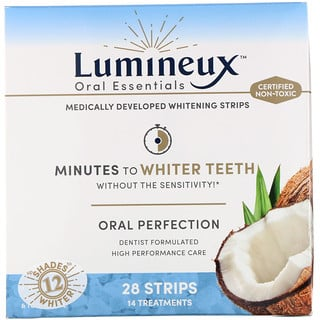 Lumineux Oral Essentials, Whitening Strips, 28 Strips + Bonus Mouthwash & Toothpaste, 28 Strips